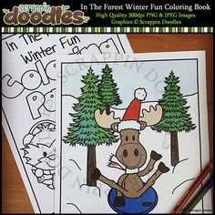 Our In The Forest Winter Fun Coloring Pages includes 8 black and white coloring pages and 1 black and white cover page.File comes as a PDF for easy printing.For personal use only.Original Artwork by Scrappin DoodlesScrappin DoodlesKey Words: animals, bear, moose, rabbit, squirrel, moose, owl, fox, winter, skiing, sledding, winter sports, clip art, clipart, coloring pages, coloring book, card making graphics, paper crafting graphics, illustrationsMy Terms of Use…