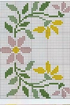 Cross Stitch Borders, Cross Stitch Flowers, Cross Stitch Designs, Cross Stitch Patterns, Bead Crochet Rope, Knit Or Crochet, Embroidery Patterns, Hand Embroidery, Crochet Blanket Tutorial