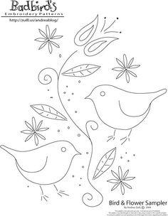 Bird & Flower Sampler by Andrea Zuill--free pattern