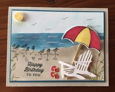 2016 Blue Dahlia Designs: Becky's Birthday Card Cardstock: sahara sand, island indigo, whisper white Ink: so saffron, daffodil delight, real red, sahara sand, marina mist, island indigo, pacific point, memento black, old olive, melon mambo Stamp Sets: swirly bird, wetlands, weather together Accessories: Impression Obsession chair and flip flop dies, umbrella weather framelit, basic rhinestone, wink of stella