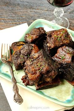 Beef - Braised Short Ribs are the Best Damn Short Ribs you'll ever have! These short ribs are cooked in red wine until falling-off-the-bone tender! Dutch Oven Recipes, Pork Recipes, Cooker Recipes, Recipies, Braised Short Ribs, Grilled Beef Short Ribs, Boneless Beef Short Ribs, Recipes With Beef Short Ribs, Recipe For Short Ribs