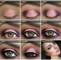 Maquiagem rosa e roxo
