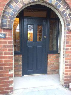 Unique Exterior Door Ideas With Windows 41 Arched Front Door, Grey Front Doors, Victorian Front Doors, Front Door Porch, Porch Doors, Double Front Doors, House Front Door, Front Door Colors, Glass Front Door