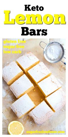 and on the right side of zingy, these easy Keto lemon bars are a crowd ple., Cake RecipesMoist and on the right side of zingy, these easy Keto lemon bars are a crowd ple. Lemon Dessert Recipes, Sugar Free Desserts, Sugar Free Recipes, Cake Recipes, Low Carb Sweets, Low Carb Desserts, Stevia, Sugar Free Lemon Cake, Sugar Free Cakes