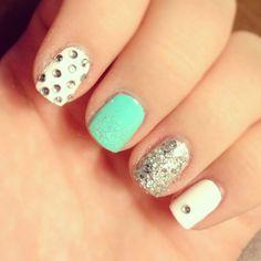 My fun aqua nails with gems
