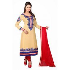 Designer Beige & Red Straight Unstitched Churidar Suit-MN21008(ST-MONA2)