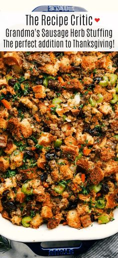 Grandma& Sausage Herb Stuffing is always a classic side dish with soft baked bread, tender sausage, crunchy vegetables all mixed with flavorful herbs and baked until golden brown. Stuffing is the perfect addition to your thanksgiving feast! Sausage And Herb Stuffing Recipe, Stuffing Recipes, How To Cook Sausage, Turkey Recipes, Turkey Stuffing, Thanksgiving Side Dishes, Thanksgiving Feast, Thanksgiving Recipes, Holiday Recipes