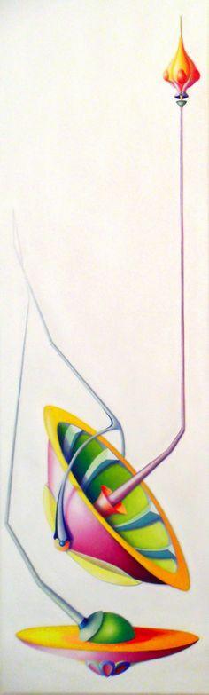 Hat Horn, 2010, olio e acrilico su tela, 200x60 cm  - Ignazio Mazzeo #art #painting #colours #nature #ignaziomazzeo