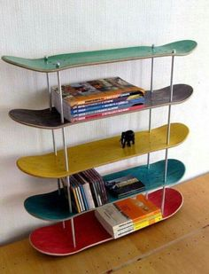 Shelves create useful storage space, but they can also transform blank walls into gorgeous displays. Whether you need something for storage or you want to add a bit to your decor, shelves are the right solution. Skateboard Shelves, Skateboard Room, Skateboard Furniture, Decor Room, Diy Home Decor, Bedroom Decor, Bedroom Storage, Bedroom Shelves, Bedroom Boys