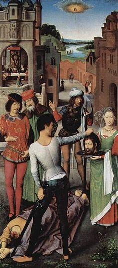 HANS MEMLING / (1479) Triptiek van Johannes de Doper en Johannes de Evangelist / onthoofding van Johannes de Doper / Linkerluik / Brugge Memlingmuseum-Sint-Janshospitaal
