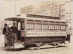 Electric street car - Gilded Age NYC - c.1890. Madison Ave. & 4th Ave to Post Office (MCNY) ~~ {cwl}