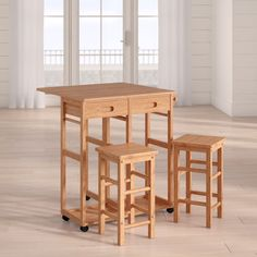 Beachcrest Home Wynyard 3 Piece Pub Table Set & Reviews | Wayfair Kitchen Dining Sets, Dining Room Sets, Space Saving Furniture, Dining Furniture, Buy A Bar, Solid Wood Dining Set, Pub Table Sets, Table And Chairs, 3 Piece