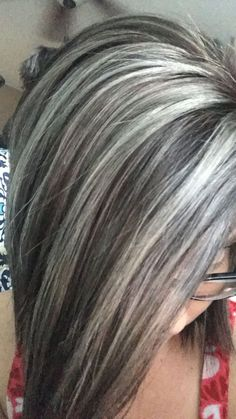 Silver gray and ash brown hair color, Silver hair, Gray hair, Jolie Cheveux — Lexington, NC. Chrissy Putnam Hair - Hairstyles For All Hair Highlights And Lowlights, Hair Color Highlights, Highlights For Greying Hair, Ash Brown Hair Color, Cool Hair Color, Hair Color Gray Silver, Silver Ombre, Gray Hair Colors, Silver Hair Styles