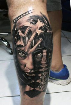 Manly Portrait Leg Tattoos