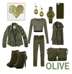 """""""The Colour OLIVE!!!"""" by mandimwpink ❤ liked on Polyvore featuring Hollister Co., Elizabeth and James, Top Guy, Toast, Casetify, Oliver Gal Artist Co., Michele, olive and thecolourolive"""