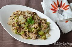 wild rice stuffing        2 cup – wild rice, cooked     1 cup chopped – celery, raw     1 cup sliced – mushrooms, brown, italian, or crimini, raw     1 medium – onion     3 tbsp – butter, without salt     3 tsp – thyme, fresh     1/8 cup – parsley, fresh     1/2 tsp – spices, sage, ground     1 tsp – salt     1 tsp, ground – black pepper