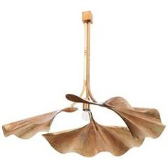 Very Rare Huge Ginkgo Leaf Brass Chandelier by Tommaso Barbi