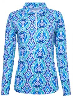 Need new golf apparel? Ibkul Kathie takes pride in offering women's golf clothing for all shapes and sizes. Buy this Jade/Peri Ibkul Ladies Kathie Print Long Sleeve Polo Golf Sun Shirts today from Lori's Golf Shoppe!