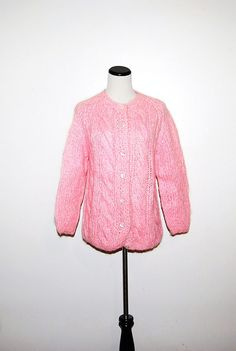 Vintage Sweater Pink Cardigan by CheekyVintageCloset on Etsy, $24.00