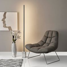 Set the mood with the Adesso Felix LED Wall Washer Floor Lamp . This minimalist floor lamp features a tube that emits lumens. Led Floor Lamp, Modern Floor Lamps, Corner Floor Lamp, Led Profil, Marble Floor, Metal Chairs, Upholstered Chairs, Tufted Chair, Chair Cushions