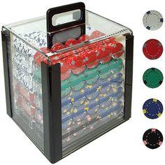 Trademark Poker 1000 13 Gram Professional Clay Casino Chips with Aluminum Case, Multicolor