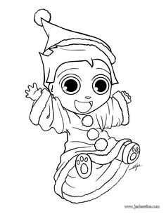 Christmas Elf Coloring Page