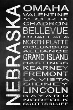 Subway Nebraska State 1 by Melissa Smith   Urban Art District.  Modern subway sign chalkboard typography features destinations in Nebraska state such as: Omaha, Valentine, York, Chadron, Bellevue, Ogallala, North Platte, Columbus, Alliance, Grand Island, Hastings, Kearney, Fremont, La Vista, Sidney, Lincoln, Bayard, Norfolk, Scottsbluff  Embrace your love for Nebraska and add some urban sophistication to compliment your modern style with a stylish subway sign. It beautifully displays some of…