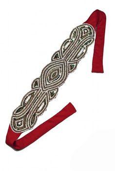 The Patou Silk Bandeau - Gold on Scarlet