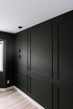 Master Bedroom DIY Moulding Wall DIY Moulding Wall tips and video tutorial Wall Molding, Diy Molding, Moldings, Black Wainscoting, Dining Room Wainscoting, Wainscoting Ideas, Black Molding, Molding Ideas, Home Renovation