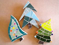 Mosaic Christmas tree wall hangings available to buy from www.justmosaics.co.uk  .