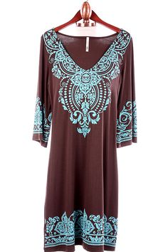 Santa Fe Brown Turquoise Dress Tunic-- with brown leggings and turquoise boots-yeah Country Outfits, Western Outfits, Boho Outfits, Cute Outfits, Cowgirl Chic, Western Chic, Big Girl Fashion, Boho Fashion, Turquoise Dress