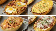 Breakfast Spaghetti Squash (Bacon & Egg) Serving Size: 4 INGREDIENTS 1 spaghetti squash oil, to brush salt and pepper, to season 1/2 cup of bacon, chopped 4 ...