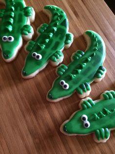 Alligator cookies by Heidissweetshoppe on Etsy https://www.etsy.com/listing/213704323/alligator-cookies