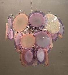 Excited to share this item from my #etsy shop: Murano Disk Chandelier | Etsy | Rare Italian Pastel Pink Colored Pendant Light, Pink Purple Colors Free Shipping, Wiring Comp USA #bedroom #midcentury #modernistchandelier #glass #designerchandelier #vintagedisklight #vistosichandelier
