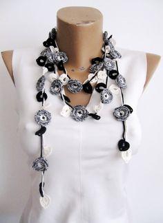 Melange Crochet Necklace Grey Black offwhite Necklace by byGuls