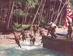 Japanese Marines landing on Natuna Island, north-west of Borneo, 22 June 1942