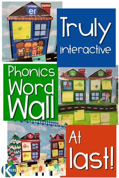 Phonics and Sound Word Wall - Ditch your traditional word wall and go with this TRULY interactive Phonics Word Wall. Making the s - Teaching Phonics, Phonics Activities, Kindergarten Literacy, Teaching Reading, Teaching Kids, Kids Learning, Preschool, Literacy Games, Autism Activities