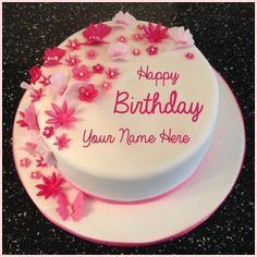 Happy Birthday Flowers and Butterfly Cake With Your Name.Print Name on Cake.Write Text on Bday Cake.Cake With Name.Personalized Cake With Custom Name.Name Cake Happy Birthday Cake Writing, Birthday Cake Write Name, Birthday Wishes With Name, Happy Birthday Mama, Happy Birthday Wishes Cake, Happy Birthday Cake Images, Birthday Cake With Photo, Happy Birthday Flower, Birthday Cake With Flowers