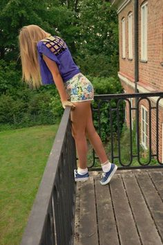 Awesome floral shorts with a blue top :)