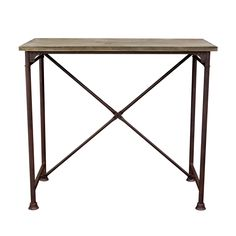 Dixon Vintage Rectangular Bar Table with Weathered Grey Top and Rust Black Hand Painted Distressed Base Diamond Sofa DIAMOND-DIXONBTBL