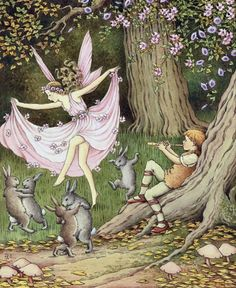 Fairies and Rabbits Dance to the Piper by Ida Rentoul Outhwaite