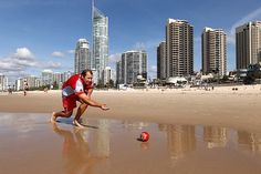 Lawn bowling on the beach in Queensland, Australia.