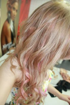 Peachy beige blonde with pink highlights