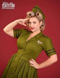 Pinup Dress - Army Military Dress - Retro Dress - Rockabilly Dress- Shirtwaist Dress - Pin Up Dress - Halloween Costume - Custom Size by CherryTiki on Etsy https://www.etsy.com/listing/187836858/pinup-dress-army-military-dress-retro