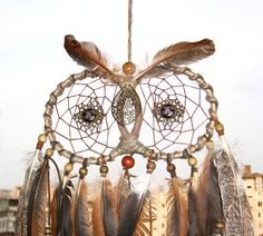 Brown Owl Dream Catcher Decor Owl Large by MagicalSweetDreams
