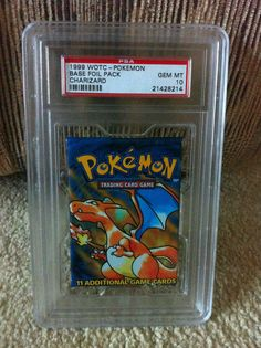 """PSA 10 Gem Pokemon Base Set Foil Booster Pack Charizard 1st Generation Card Game  // This is 1/3 cover arts for the Generation 1 """"Base Set"""" // *Note* This is PSA grade 10 Gem Mint Condition."""