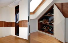 Bespoke loft wardrobes and eaves storage designed to fit the most awkward attic conversion. Attic Master Bedroom, Upstairs Bedroom, Attic Rooms, Attic Spaces, Bedroom Loft, Eaves Storage, Loft Storage, Cupboard Storage, Shoe Storage