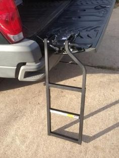 Traxion Tailgate Ladder, Model# The Tailgate Ladder swings easily into position for quick, safe and easy access to your truck bed. Reduces leg and back strain. Easy installation and removal. Future Trucks, New Trucks, Cool Trucks, Pickup Trucks, Truck Tailgate, Truck Camping, Tailgating, Tailgate Step, Truck Mods
