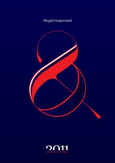 #Playful #Ampersand. #Moshik Nadav #Typography.        #ampersands #experimental #typography #typo #font #fonts #type #fashion #sleek #outline #pink #navy #graphic #art #red #rouge