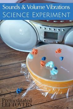 This Sound and Volume Vibrations Science Experiment can be done while enjoying a variety of music! It's fun and easy learning activity for kids of all ages. Fund science project idea that you can easily do at home with your children.